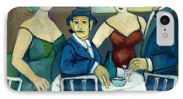 Parisian Cafe Scene In Blue Green And Brown IPhone Case