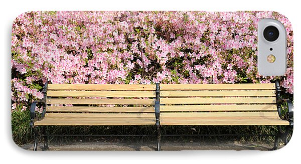 IPhone Case featuring the photograph Park Bench And Azaleas by Bradford Martin