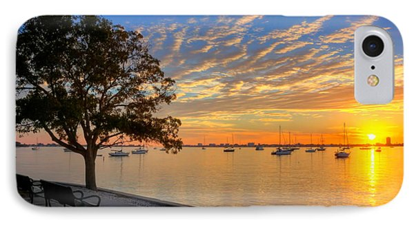 Park Bench Bay View Phone Case by Jenny Ellen Photography