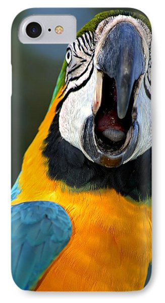 Parrot Squawking Phone Case by Carolyn Marshall