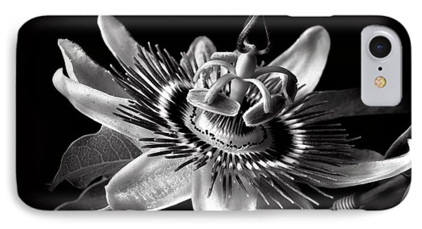 Passion Flower In Black And White IPhone Case by Endre Balogh