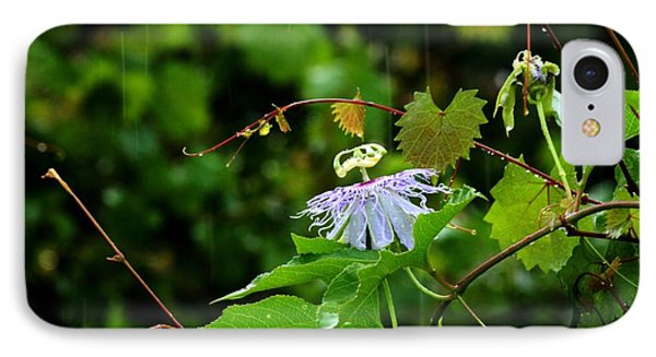 Passion Flower In The Rain Phone Case by Theresa Willingham
