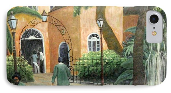 IPhone Case featuring the painting Pat O Brian's Restaurant by Gretchen Allen