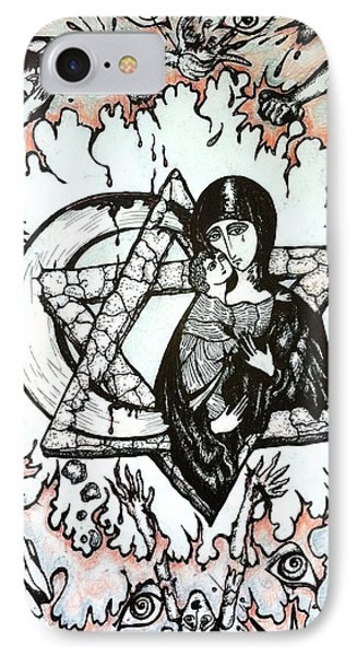 IPhone Case featuring the drawing Peace Process by Rae Chichilnitsky