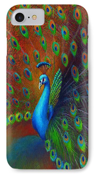 IPhone Case featuring the painting Peacock Spread by Nancy Tilles