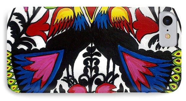 Peacock Tree Polish Folk Art IPhone Case by Ania M Milo