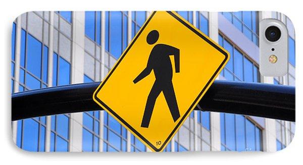 Pedestrian Crosswalk Sign In Business District Phone Case by Gary Whitton