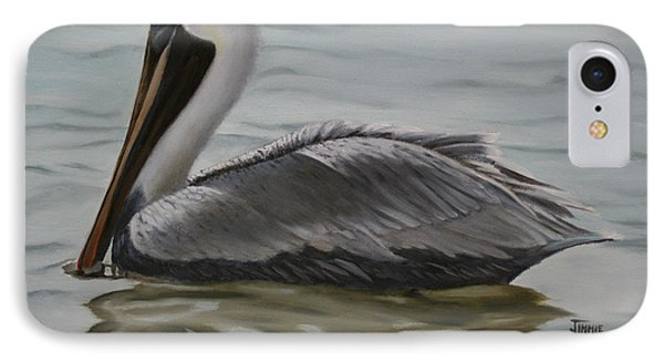 IPhone Case featuring the painting Pelican Swim by Jimmie Bartlett