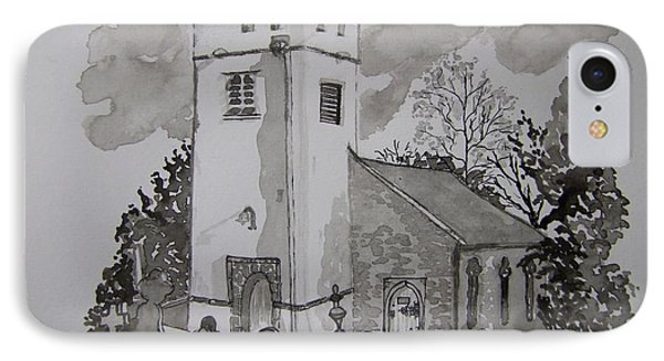 Pen And Ink-llanarthne Church-01 Phone Case by Pat Bullen-Whatling