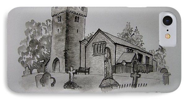 Pen And Ink-llangathen Church-01 Phone Case by Pat Bullen-Whatling