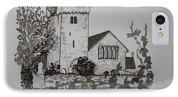 Pen And Ink-llangathen Church-02 Phone Case by Pat Bullen-Whatling