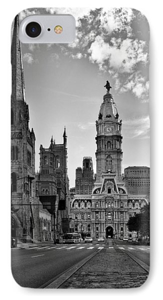 Philadelphia City Hall Bw IPhone Case by Susan Candelario