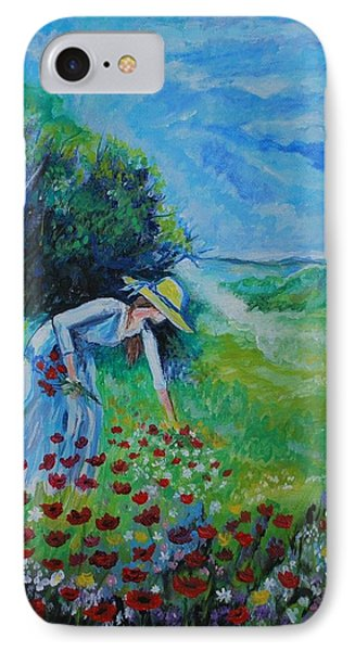 IPhone Case featuring the painting Picking Flowers by Leslie Allen