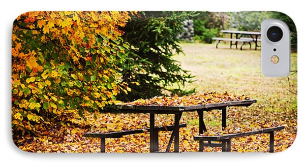 Picnic Table With Autumn Leaves Phone Case by Elena Elisseeva