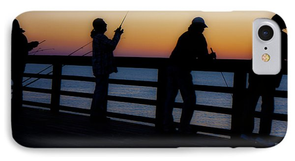 Pier Fishing At Dawn II Phone Case by Betsy Knapp
