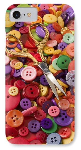 Pile Of Buttons With Scissors  Phone Case by Garry Gay