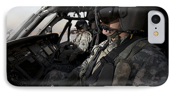 Pilot In The Cockpit Of A Uh-60l Phone Case by Terry Moore