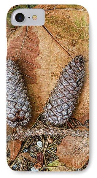 Pine Cones And Leaves Phone Case by Deborah Benoit
