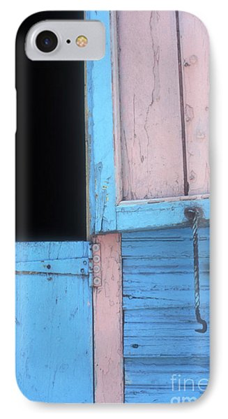 IPhone Case featuring the photograph Pink And Blue Shutters Barahona Dominican Republic by John  Mitchell