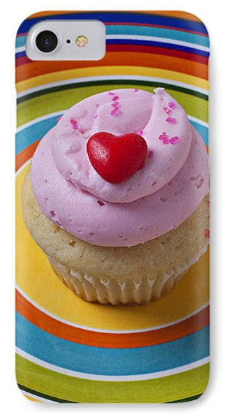 Pink Cupcake With Red Heart Phone Case by Garry Gay