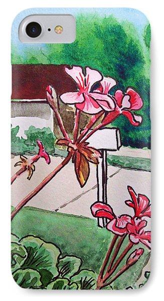 Pink Geranium Sketchbook Project Down My Street Phone Case by Irina Sztukowski