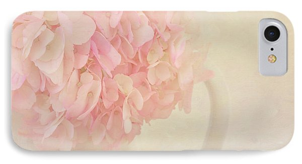 Pink Hydrangea Flowers In White Vase Phone Case by Kim Hojnacki