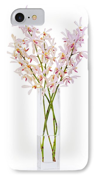 Pink Orchid In Vase Phone Case by Atiketta Sangasaeng