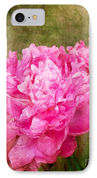 Pink Peony Texture 3 IPhone Case by Bob and Nancy Kendrick