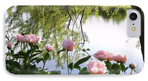 Pink Reflections Peonies IPhone Case by Rebecca Overton