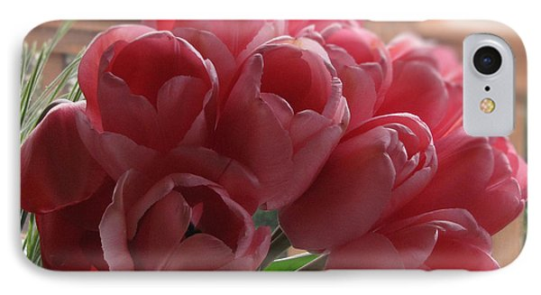 IPhone Case featuring the photograph Pink Tulips In Vase by Katie Wing Vigil