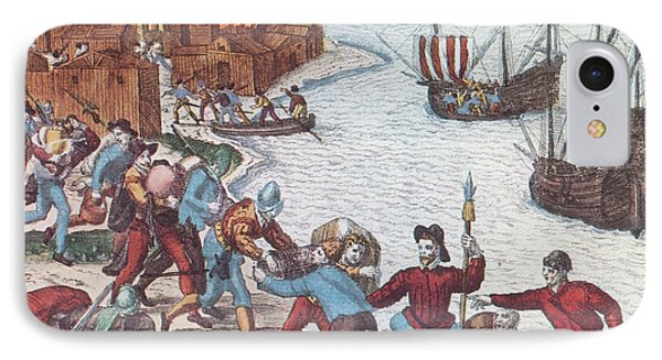 Pirates Burn Havana, 1555 Phone Case by Photo Researchers