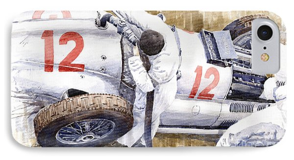 Pit Stop German Gp 1939 Mercedes Benz W154 Rudolf Caracciola IPhone Case by Yuriy  Shevchuk