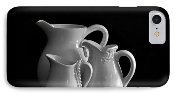 Pitchers By The Window In Black And White Phone Case by Sherry Hallemeier