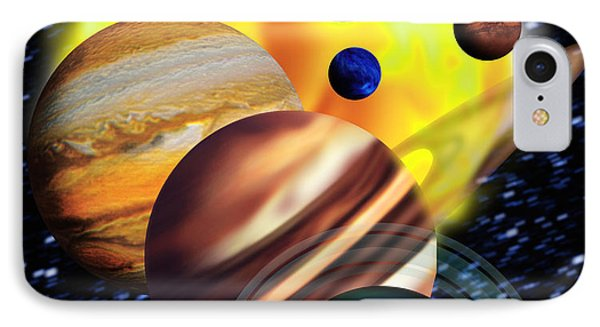 Planets & Their Relative Sizes Phone Case by Victor Habbick Visions