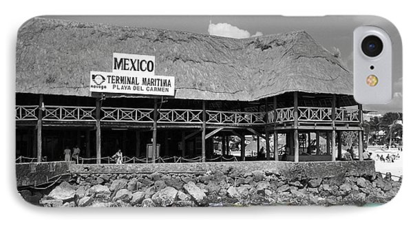 IPhone Case featuring the photograph Playa Del Carmen Mexico Maritime Terminal Color Splash Black And White by Shawn O'Brien