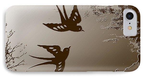 Playful Swalows Digital Art Phone Case by Georgeta  Blanaru