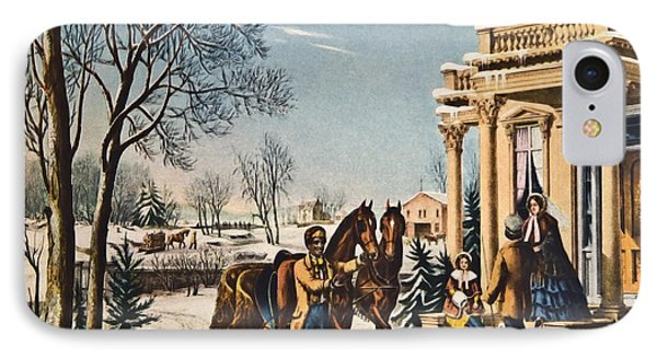 Pleasures Of Winter By Currier And Ives Phone Case by Susan Leggett