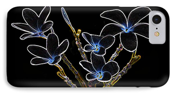 Plumeria Outlines B7072 IPhone Case by Michael Peychich