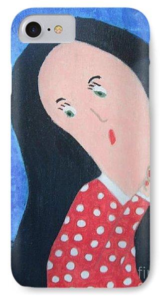 Pondering Black Haired Girl Phone Case by Jeannie Atwater Jordan Allen