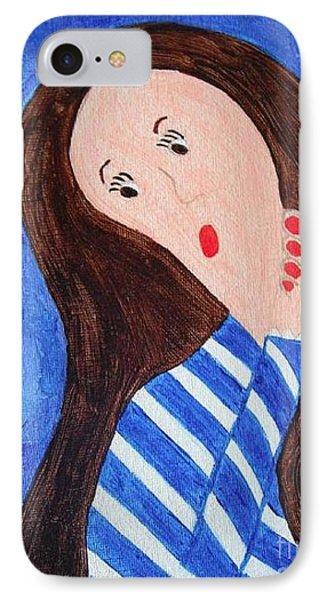 Pondering Brunette Phone Case by Jeannie Atwater Jordan Allen