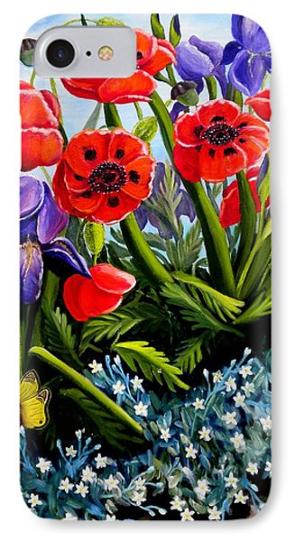 Poppies And Irises IPhone Case by Renate Nadi Wesley