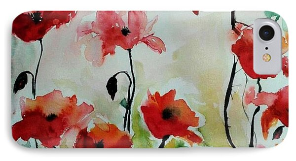 IPhone Case featuring the painting Poppies Meadow - Abstract by Ismeta Gruenwald