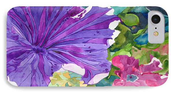 IPhone Case featuring the painting Popping Petunias by Debi Singer
