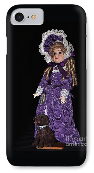 Porcelain Doll - Full View With Puppy IPhone Case