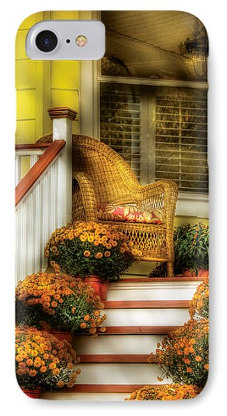 Porch - Westifeld Nj - In The Light Of Autumn Phone Case by Mike Savad