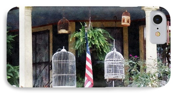 Porch With Bird Cages Phone Case by Susan Savad