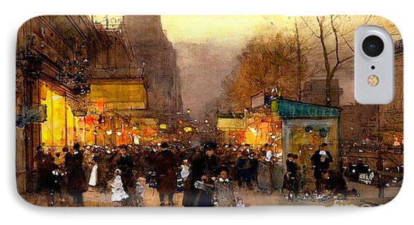 Porte St Martin At Christmas Time In Paris IPhone Case by Luigi Loir