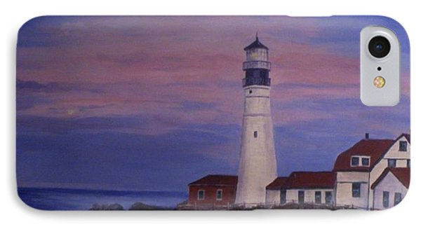IPhone Case featuring the painting Portland Head Lighthouse At Dawn by Julie Brugh Riffey