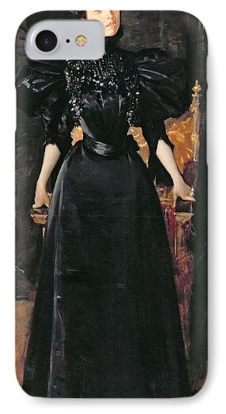 Portrait Of A Lady In Black Phone Case by William Merritt Chase