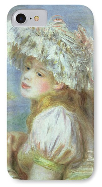 Portrait Of A Young Woman In A Lace Hat Phone Case by Pierre Auguste  Renoir